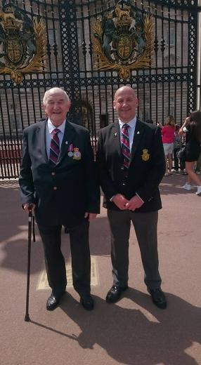 Ken Allen and father at Buckingham Palace