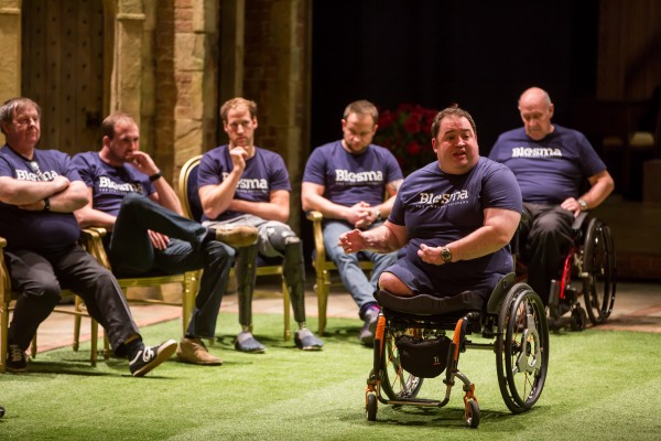 Military veterans including many amputees appear on stage in the West End. All the 29 participants in the scheme, including triple amputees and wheelchair members, on stage at the Theatre Royal Haymarket.... Pictured: Warrant Officer Ken Bellringer, bomb disposal Royal Logistics Corps (wheelchair)