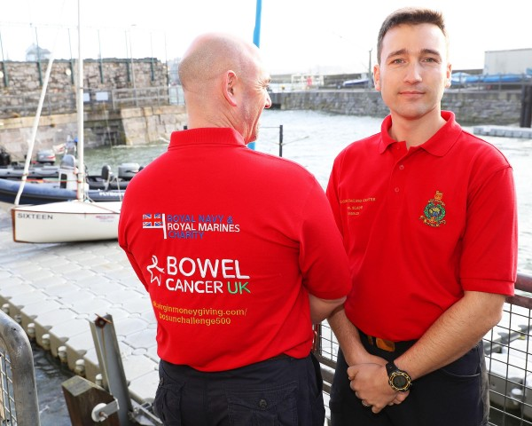 BOSUN DINGHY ENDURANCE CHALLENGE PROMOTIONAL PORTRAITS The second Bosun Dinghy endurance challenge takes place in May 2017. Crew members will be wearing new T-Shirts which show the charity they will be raising funds for 'Bowel Cancer'. *** Local Caption *** Mark Belamarich MBE (L) age 45 from PLymouth and Phil Slade (R) age 32 from Plymouth.