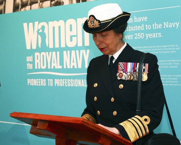 "Pictured is HRH The Princess Royal - Chief Commandant for Women in the Royal Navy opens the exhibition at the National Museum of the Royal Navy in Portsmouth. HRH The Princess Royal officially opened the exhibition 'Pioneers to Professionals: Women and the Royal Navy' exhibition at the National Museum of the Royal Navy in Portsmouth's Historic Dockyard on the afternoon of 8 March 2017, officially launching the WRNS100 centenary celebrations. The exhibition opening was attended by current serving Royal Navy personnel, WRNS veterans, including members of the WRNS100 Project Team and museum officials who were introduced to The Princess Royal as she toured the exhibition. The opening took place on International Women's Day, (8 March 2017) coinciding with a Royal Navy ship visit to London where HMS St Albans presence helped to mark the achievements of women in today's Royal Navy during a number of engagements in the capital. 'Pioneers to Professionals' champions the early pioneers who fought for equal rights in the Royal Navy and tells the story of how women's role and service in the navy has changed. The exhibition celebrates women's contribution to the Naval Service over the last 250 years. Victoria Ingles, curator of the exhibition, said: ""The establishment of the Women's Royal Naval Service 100 years ago was an important milestone in the employment of women within the Royal Navy. Their achievements undoubtedly laid the foundations for the integrated naval service that we have today but it is also important to celebrate contribution of earlier female pioneers who lived and worked on naval ships long before this."" The Royal Navy is supporting a number of WRNS100 celebratory events including the unveiling of a Commemorative Stone in Portsmouth Cathedral in November and a London reception at the Old Royal Naval College Greenwich where Wrens served and trained for many years."