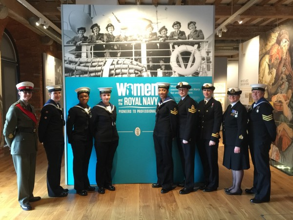 Naval Servicewoman and RM bandmaster escorts_image at Museum.