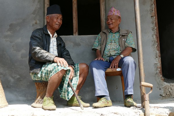 April 2017 Gurkha veterans and brothers Rifleman Kul Bahadur (left) and Corporal Gunga Bahadur Gurung outside home construction project
