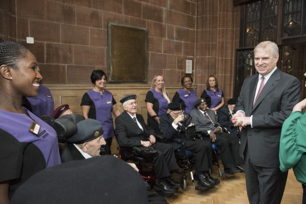 The Duke of York chats with veterans and staff from Broughton House