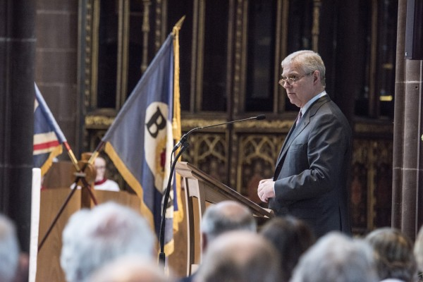 The Duke of York reads a lesson at the Broughton House centenary service at Manchester Cathedral