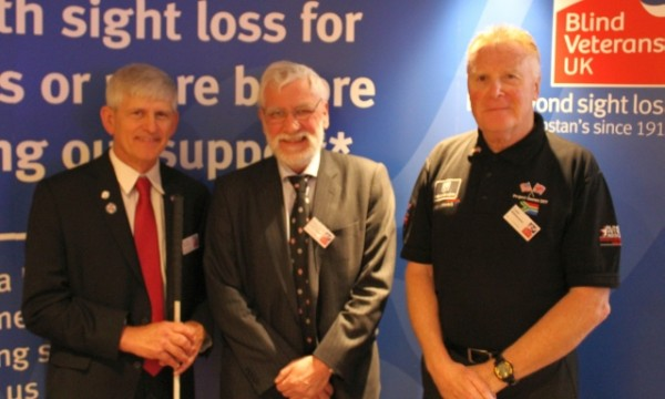 Vice Admiral Alasdair Walker (centre) with Dr. Thomas Zampieri (left) of the BVA and Colin Willliamson (right) Blind Veterans UK President - small file