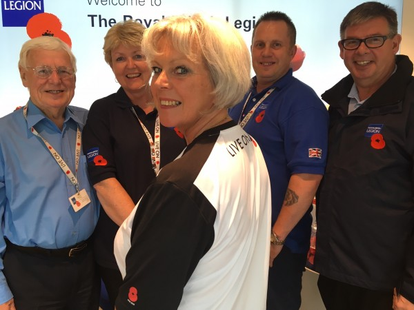 Staff from the Royal British Legion HQ for Merseyside & Cheshire: (L-R) Brian Doran (volunteer), Kate Taylor (Advice & Information Officer), John Keane (volunteer), Bill Martin (Membership Support Officer) and wearing the shirt in the foreground is Mandy Sutton (Advice & Information Team Leader)