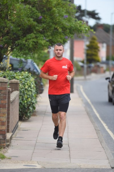 Kyle aims to run from Warrington to Ipswich in just 5 days in aid of Walking With The Wounded. Photo Credit Ipwich Star (2)