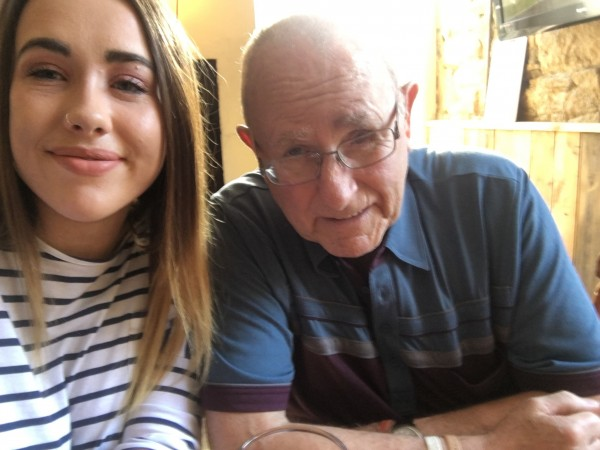 Blind veteran Ian Henderson and granddaughter Chloe Costello