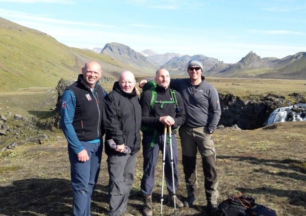 Steve Thomas (second left) with fellow walkers on the trek