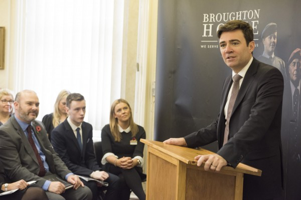 Andy Burnham speaking at the launch of the Broughton House Armed Forces Support Hub3