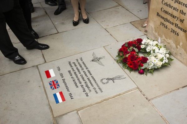 The memorial stone laid at the service
