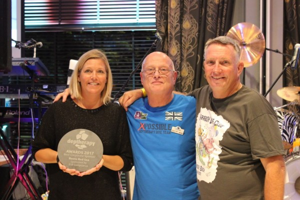 Deptherapy Chair and Founder Richard Cullen with Clare and Steve Rattle, organisers of the event and winners of one of the three Corporate Sponsor Awards