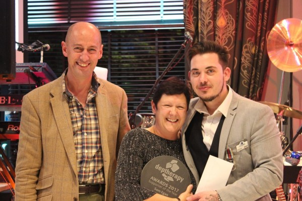 Air Vice Marshall Paul Colley and Deptherapy Ambassador Gary Green with Supporter of the Year Sam Egan