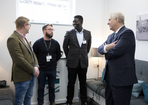 (left to right) Students Freddie Wright-Jones, Joe Healey, and Anthony Bart-App with HRH The Duke of York, at the opening of the Forces Media Academy.