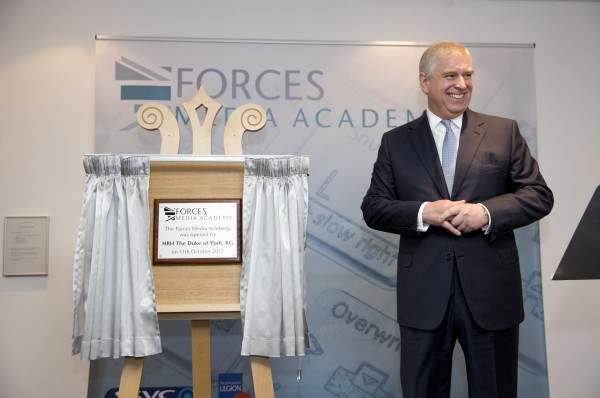 HRH The Duke of York unveils plaque at the opening of the Forces Media Academy
