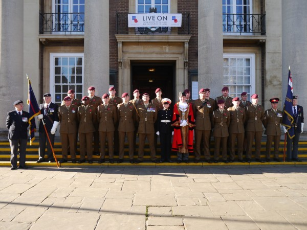 12 Regiment Royal Artillery with Worthing Mayor, Cllr Alex Harman, outside Worthing Town Hall