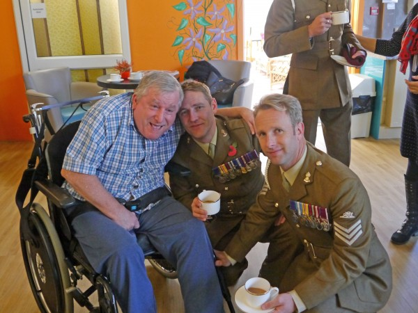 (l-r) Care for Veterans resident, Richard Means, Sgt Major Walker (12 Regiment Royal Artillery) and Sgt Adam Huber (16 Regiment Royal Artillery)