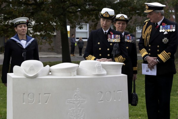 Her Royal Highness The Princess Royal, KG KT GCVO GCStJ QSO GCL CD and First Sea Lord Admiral Sir Philip Jones KCB ADC Royal Navy during the unveiling of the commemorative stone.