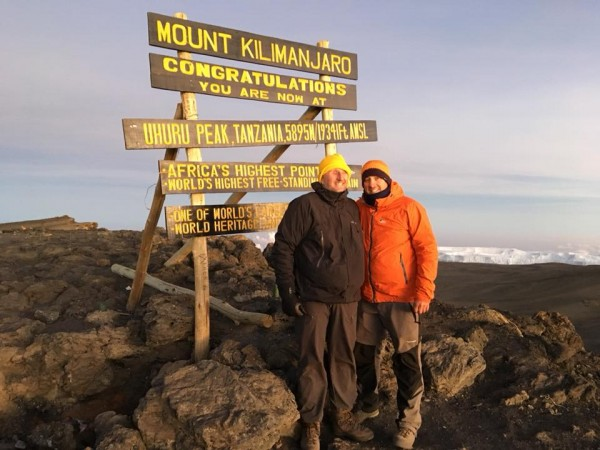 Mark and Russell on top of Mount Kilimanjaro