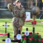 Scots Guards Army cadet force Nathan Skinner (13) pays his respects to the fallen at Edinburgh's Garden of Remembrance.