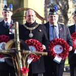 Kevin Gray of Royal British Legion Scotland, Lord Provost of Edinburgh, Poppy Scotlands Gordon Michie and Col (ret'd) Jim Wilson of veterans Scotland lay wreaths at the Garden of remembrance for Armistice day.