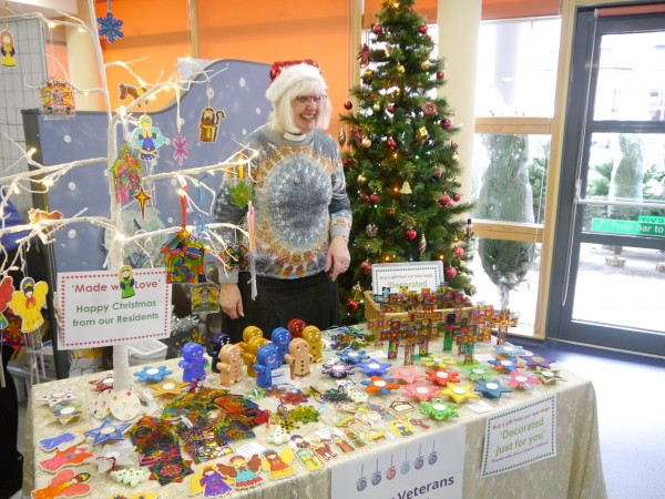 Care for Veterans' Chaplain, Reverend Beverley Miles, sells gifts and decorations made by residents