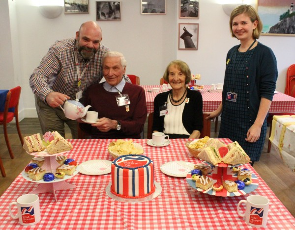 Recreating the atmosphere of the Great British Bake Off - Community Team Leader Matthew Athey, blind veteran Eric Waters, Eric's friend Margaret Neale, Community Support Worker Isobel Whelan