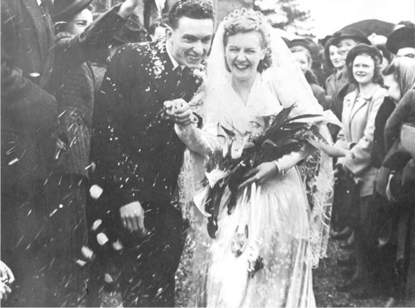 Vera and Lewis Trinder on their wedding day on Valentine's Day 1948