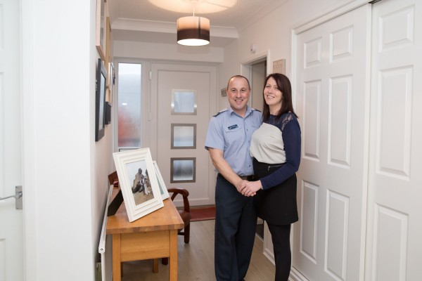 Sgt Steve Lawrence and his wife Laura were given support from the RAF Benevolent Fund in the form of covering costs of building work to future proof their home for Laura's needs.