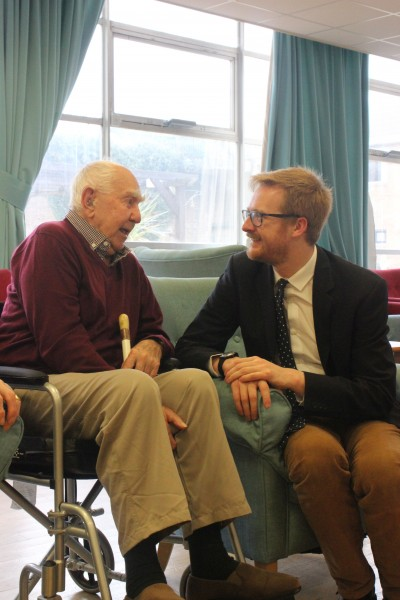 Lloyd Russell-Moyle talking with blind veteran Keith Arblaster