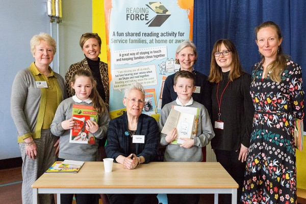 From let to right, Alison Baverstock, founder and Director of Reading Force; Jane Harsham, Business Executive, Annington; Fiona Maxwell, Reading Force; Louise Hill, MOD Support Teacher; Hattie Gordon, Reading Force; author Vivian French; children from Colinton Primary School Credit: Suzanne Heffron