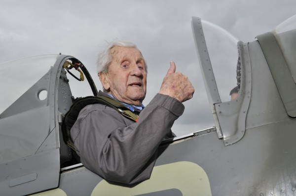 Squadron Leader Allan Scott DFM returned to Biggin Hill today 1.4.18 to mark the 100th anniversary of the RAF and took to the skies in a beloved Spitfire where he performed a flypast and completed at barrel roll over the runway. Allan originally flew from Biggin Hill in 1941, towards the end of the Battle of Britain. Whilst stationed at Biggin Hill Allan met the King on one of his visits. Following his time at Biggin Hill Allan was posted to Malta, which was under siege with continual raids by the Luftwaffe and the RAF were battling against heavy odds. He flew his Spitfire off HMS Eagle to the island on 21st July 1942, wherehe saw much action - including a victory during Operation Pedestal on 13th August.   Squadron Leader Allan Scott DFM is an Ambassador for the Royal Air Force Benevolent Fund, the RAF's leading welfare charity. This distinguished pilot has been working with the Fund to help raise awareness of the support the charity provides for the veteran community, from financial assistance and housing adaptations to welfare breaks and mobility aids. Last year the charity spent £17.6m supporting more than 55,000 members of the RAF Family. He is pictured with Mary Ellis  aged 101 a former Air Transport Auxiliary pilot who delivered over 1000 aircraft during the Second World War - 400 of them Spitfires. Fiona Ferguson Royal Air Force Benevolent Fund 67 Portland Place, London, W1B 1AR  www.rafbf.org     | M: 07894 479405   --  Adrian Brooks imagewise  -  wise words - clever pictures The Award Winning Photographic Consultancy Imagewise Limited, Deri, Green Dene, East Horsley, Surrey,  KT24 5RE Telephone : 01483 283879  -  Mobile : 07768 696197   Email : adrian@imagewise.co.uk     Website : www.imagewise.co.uk                           This phot