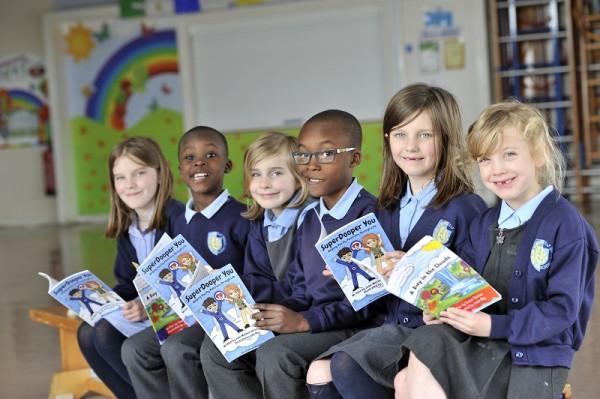 RAF Benson Primary School pupils enjoying the books.