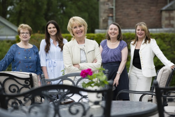 Housing Option Scotland , Housing Charity welcomes Nancy Birtwhistle from Bake Off TV show to their Charity Afternoon Tea at Cromlix House Hotel, Dunblane. Pictured is Nancy with volunteers and staff l to r Christine Jackson, Olivia Lindsay , Nancy , Moira Bayne and Dawn Richardson. Photograph by Martin Shields Tel 07572 457000 www.martinshields.com © Martin Shields