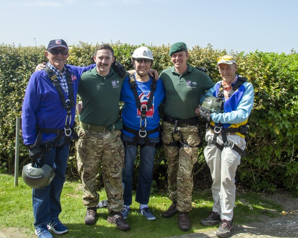 Tony Harbour (centre) with Marines and fellow blind veterans Graham Forshaw (far left) and Vic Ashlee (far right)