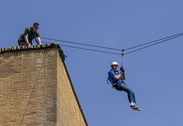 Tony Harbour taking part in the zipwire challenge