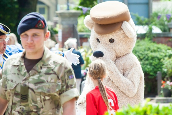 Care for Veterans' mascot, Gifford Bear at last year's Summer Fayre