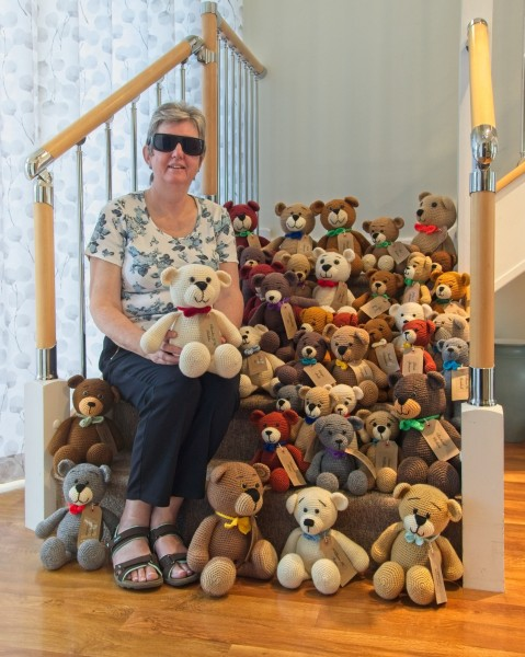 LIttleover bears sitting on the stairs with Sally